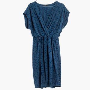 Madewell Printed Blue Mini Wrap Dress Sz M